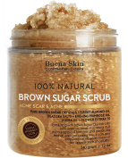 Body Scrub Brown Sugar For Face - Acne and Acne Scars, Anti Cellulite Treatment, Natural Exfoliator, Moisturiser Promoting Radiant Skin,100% Natural 350ml by Buena Skin