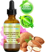 ORGANIC Sweet ALMOND OIL AUSTRALIAN 100% Pure / Virgin / Unrefined. 2 oz-60 ml. For Face, Hair and Body.