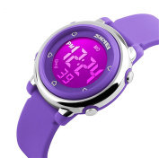 Gosasa Kids LED Digital Unusual Electrical Luminescent Silicone Outdoor Sport Waterproof Alarm Children Dress Wrist Watch with Stopwatch for Boys Girls - Purple