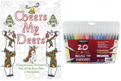 Christmas Colouring Book - Funny Quotes including Adult Beverages, Cheers My Deers and 20 Sargent Firm Brush Tip Marker Pens - Gift Set for Women & Men, Colour and Laugh Your Way to Less Stress!