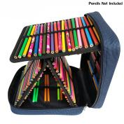 Corasays 160 Slots Pencil Case - Handy Multi-Layer Large Zipper Bag for for Coloured Pencils, Watercolour Pens, Gel Pen, Colour Pen, Cosmetic Makeup Brush and More