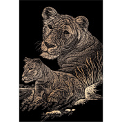 Copper Foil Engraving Art Kit 20cm x 25cm -Lioness & Cub