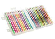 Assorted 24 Pack Diamond Tip 0.8mm/1.0mm Colouring Gel Pen Set with Portable Solid Case,for Adults Kids Colouring Book,Writing,School Project,Greeting Cards,No Bleed - Glitter + Neon