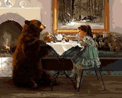 Home Beauty Picture Paint On Canvas Diy Digital Oil Painting By Numbers Drawing Home Decor Craft - Bear With Girl 40X50Cm