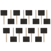 US Art Supply 7.6cm Foam Sponge Wood Handle Paint Brush Set (Value Pack of 15) - Lightweight, durable and great for Acrylics, Stains, Varnishes, Crafts, Art