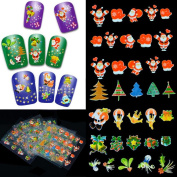 Elaco 12 pieces Christmas Nail Art Transfer Stickers 3D Design Manicure Tips Decal Decoration