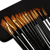 Wisehands Paint Brushes Set Art Brush for Watercolour, Acrylic, Oil and Face Painting, Long Handle Paintbrushes, Case Holder, Colour Black, 15 Pieces