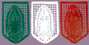Large PLASTIC Full Size Tricolour Virgin Mary Papel Picado - Virgen de Guadalupe Papel Picado - 14 Panels / Over 5.8m Long Banner - By Paper Full of Wishes