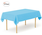 Tiger Chef 3-Pack Island Blue Heavy Duty Plastic Tablecloth Reusable, 140cm x 270cm Table Cover Plastic, Available in 20 colours