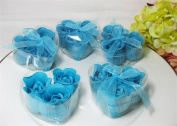 Scented Rose Flower Shape Hand Soap Wedding Party Favour Heart Shape Box Turquoise