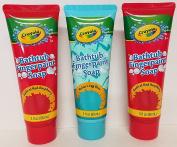 (3) Crayola Fingerpaint Soap Radical Red Raspberry and Robin's Egg Blue 90ml bottles