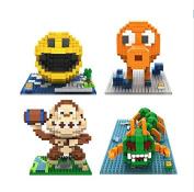 Hot 4pcs/set Building Blocks Toy Pacman Pac Man Orangutan Octopus Chilopod Assemblage Figure Toy