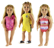 HongShun 3 Set Clothes Fashion Outfit for 46cm American Girl Doll Swimming suit & sports wear