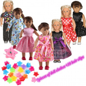 ZWSISU Super Value 7pcs 46cm American Girl Doll Clothes and 10pcdoll hair clips Fits American Girl Doll, Our Generation, Journey Girls Dolls