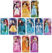 Disney Store Princess & Friends 30cm Classic Doll Toy Collection Aurora-Merida-Pocahontas-Mulan-Tiana-Elsa-Belle-Ariel-Rapunzel-Snow White-Jasmine-Cinderella