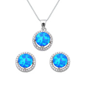Sterling Silver Round Cut Blue Lab Opal Necklace and Earrings Set