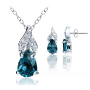 Sterling Silver Gemstone and White Topaz Swirl Teardrop Necklace and Earrings Set