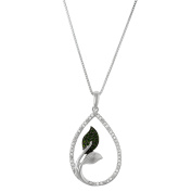1/5 CTTW Drop Pendant with a combination of Diamonds and Green Diamonds in Sterling Silver