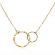 Double Circle Eternity Necklace 14 Karat Gold on Sterling Silver Mother and Daughter Necklace Friendship Necklace