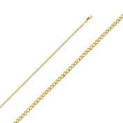 Solid 14K Yellow Gold Cuban Curb Chain Necklace- 2.4mm Width & 16 inches Long