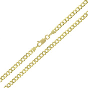 Solid 14K Yellow Gold Cuban Curb Chain Necklace- 3.2mm Width & 18 inches Long