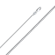 Stunning 14K New Solid White Gold Box Chain Necklace with Secure Lobster Lock Clasp- 1mm Width & 22 Inches Long