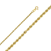 Elegant 14K Yellow Gold Rope Chain Necklace with Secure Lobster Lock Clasp - 2mm Width & 24 Inches Long