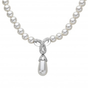 Crystaluxe Drop Necklace with Crystals & Simulated Pearls in Sterling Silver, 43cm