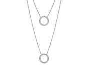 G & H Sterling Silver Multi Strand Layered Necklace with Circle Disc Detail
