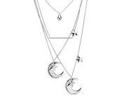 G & H Sterling Silver Multi Strand Layered Necklace with Moon and Stars Details