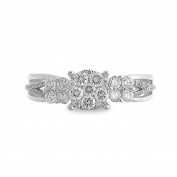 14K White Gold 3/5ct TDW Split-Shank Round Diamond Cluster Ladies Fashion Band