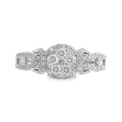 14K White Gold 3/4ct TDW Split-Shank Round Halo Diamond Cluster Ladies Fashion Band