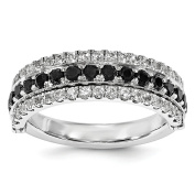 Sterling Silver Stackable Synthetic Expressions White Sapphire & Black Sapphire Flip Ring