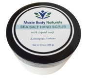 Natural Sea Salt Hand and Body Scrub With Liquid Soap, LEMONGRASS VERBENA. All Skin Types. No Parabens, Phthalates, Dyes, Gluten, Artificial Preservatives. Made in USA, 350mls