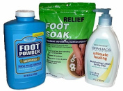 Foot Care - Foot Relief - Soak, Powder and Lotion Bundle - 3 Items