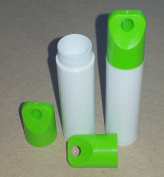 50 New Empty WHITE Lip Balm Tubes WITH GREEN LANYARD CAPS - 5ml