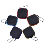eBoot Earphone Square Carrying Case Earbud Storage Pouch with Carabiner for Cellphone Headset Earbuds and USB Cable, 5 Colours