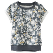 Oshkosh Girls S/S Gold Foil Floral French Terry Top;; Grey, 4