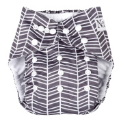Herringbone Unisex Baby Cloth Pocket Nappy with Bamboo Insert for Boy or Girl by Nora's Nursery
