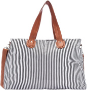 Nappy Bag by Elibag - Designer Weekender Tote, Cute French Stripe Baby Organiser
