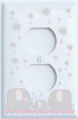Grey and Pink Dandelion Elephant Outlet Switch Plates Covers / Elephant Nursery Decor (Pink Outlet)
