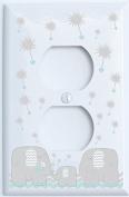 Grey Dandelion Elephant Light Switch Plates Covers / Five Colours to Choose From / Elephant Nursery Decor