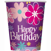 270ml Blossom Birthday Party Cups, 8ct