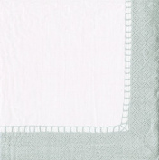 Entertaining with Caspari Linen Border Silver, Cocktail Napkin, Pack of 20