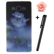 Galaxy A5 2015 Case,TOYYM Super Slim TPU Silicone Case Handy Cover,Unique Patterned Protective Soft Gel Skin Fit Case for Samsung Galaxy A5 2015 Version-Blue Flower