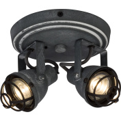 Vintage Led Spotlight Spiral Ceiling Light in Industrial Used Look, Includes 2x 4 W GU10 LED 2x 350 Lumen, 3000 Kelvin Warm White, Metal, grey concrete
