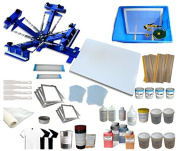 TechTongda Screen Printing Machine 1 Station 4 Colour Screen Printing Kit for T-shirt DIY Screen Printing Press