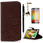 Note 3 Case,Samsung Galaxy Note 3 Case - Slim Fit Wallet Flip Embossed Clovers PU Leather Case with Shock-Absorption TPU Inner Cover & Dust Plug Stylus Pen HD Screen Protector by Badalink - Brown