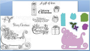 Bundle Heartfelt Creations Die+2 stamps Ornate Sleigh And Presents+Gift Wrapped Presents