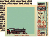 Train Scrapbooking Papers & Stickers Set
